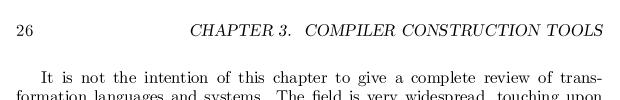Custom header in thesis
